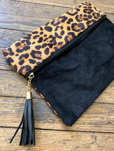 Animal Print Fold Over Wristlet Crossbody/Clutch Bag-  Leopard