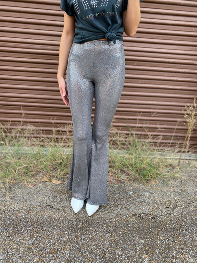 Weston Sequin Flare Pants- Silver