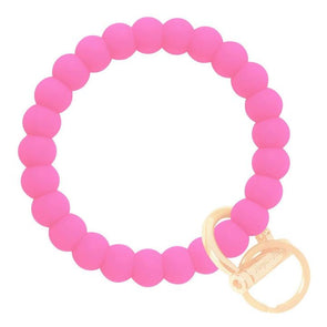 Bubble Bangle Key Ring- Bright Pink/Gold