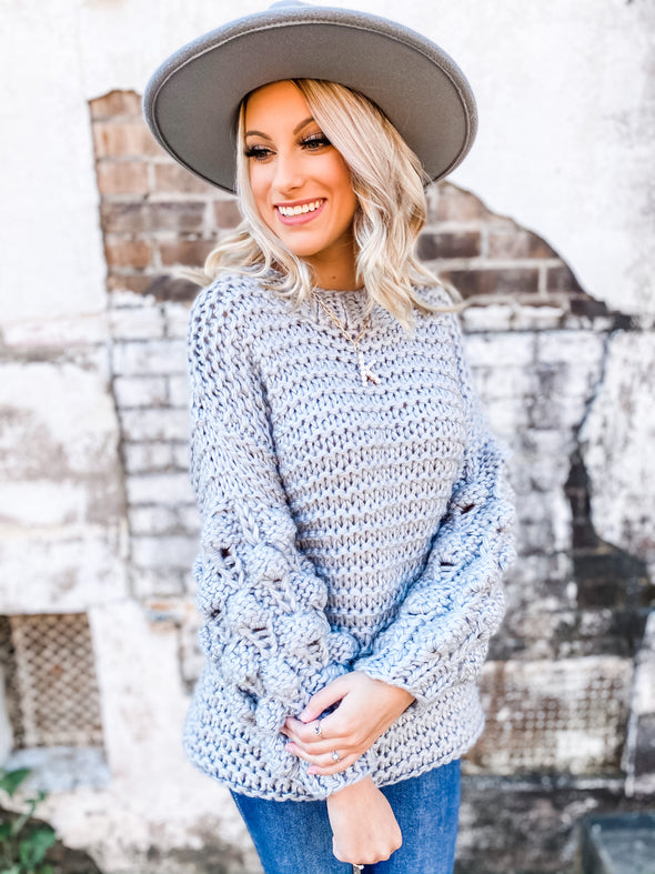Annie Pom Pom Sleeve Sweater- Heather Grey