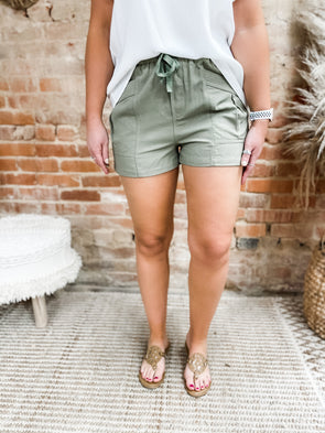 Zara Self Tie Shorts- Olive