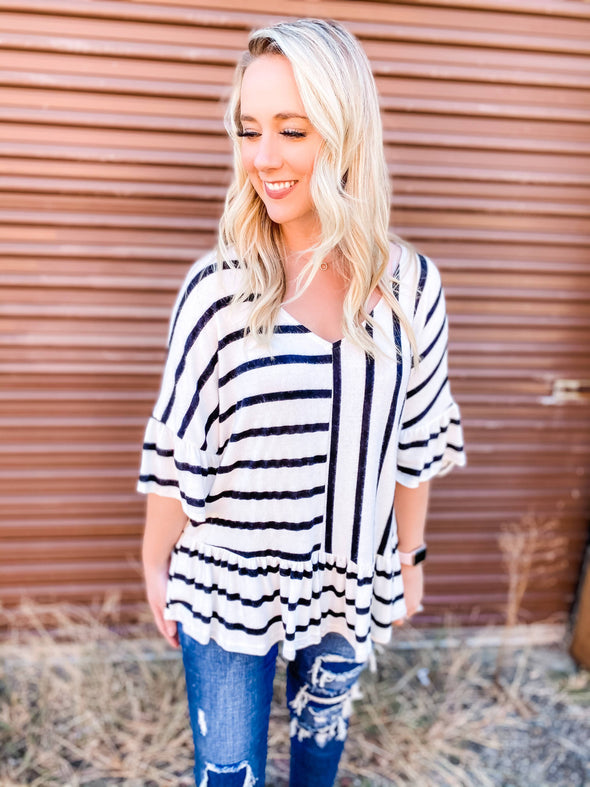 Annabelle Multi Striped Peplum Top- White
