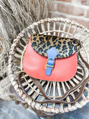 Mae Leather Crossbody- Peach/Cheetah