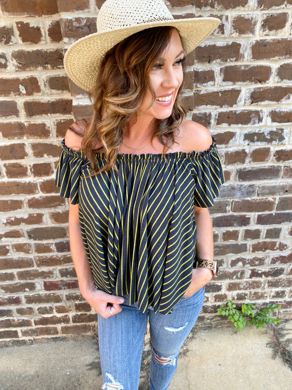 Alexandra Striped Off Shoulder Top