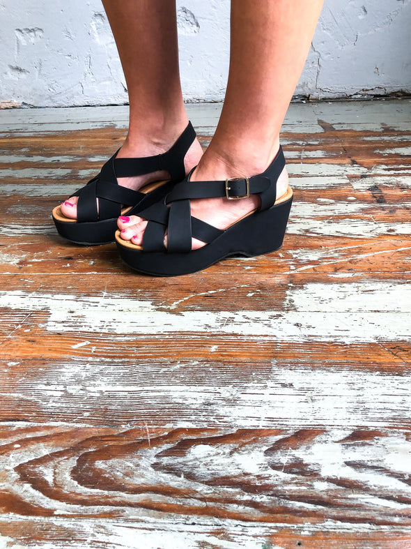 Logan Wedges- Black - Texas Bling