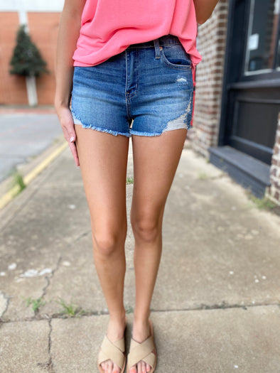 Maisie Mid Rise Distressed Shorts