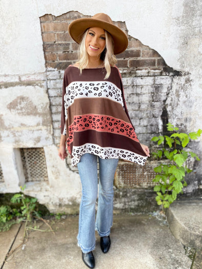 Maddie Leopard Striped Oversized Top- Mocha