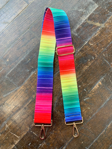 Bag Strap- Variegated Rainbow Stripe - Texas Bling
