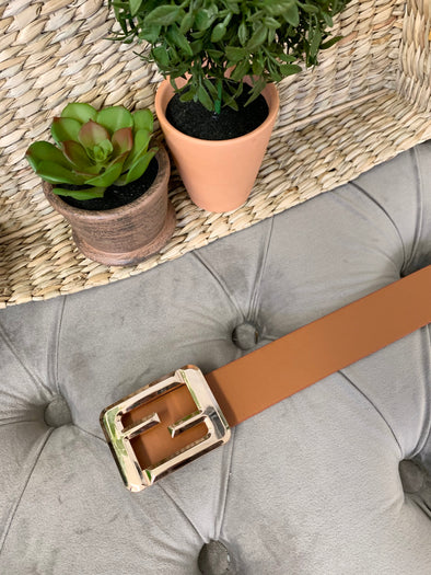 Square Buckle Belt- Brown