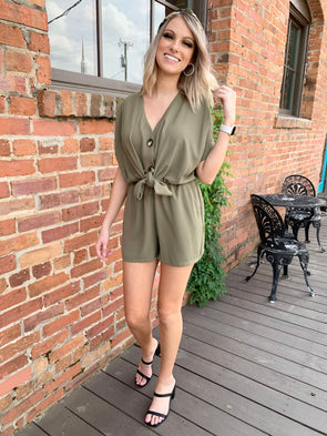 Rosalyn Romper- Olive - Texas Bling