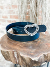 Stoned Heart Buckle Belt- Black