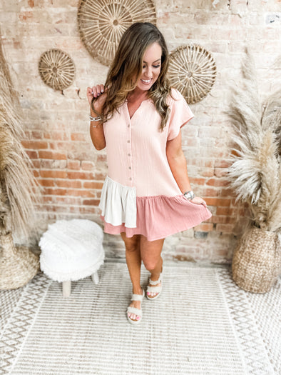 Adelyn Contrast Asymmetrical Ruffle Detail Dress- Blush