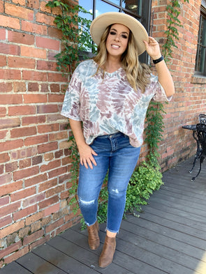 Lucia Tie Dye V-neck Top- Mauve