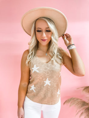 Layla Sleeveless Sweater Tank Top- Peach/Ivory