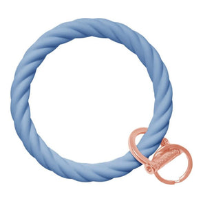 Twist Bangle Bracelet Key Ring- Slate Blue/Rose Gold