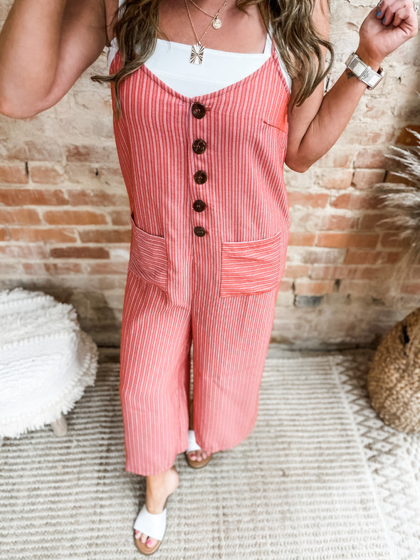 Victoria Striped Button Detail Jumpsuit- Orange