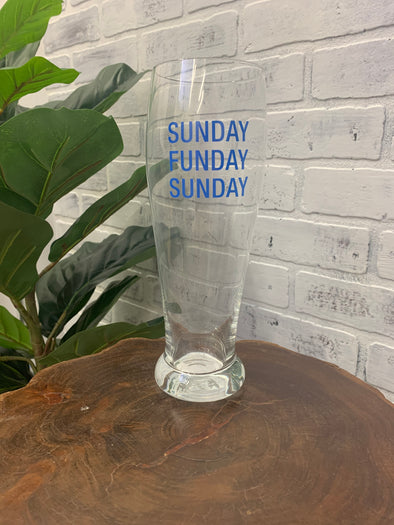 Sunday Funday Pilsner Glass - Texas Bling