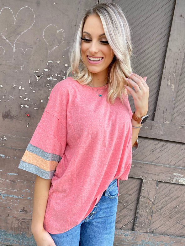 Molly Boxy Baseball Top- Coral