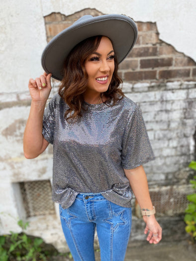 Ryker Sequin Boxy Top- Gunmetal