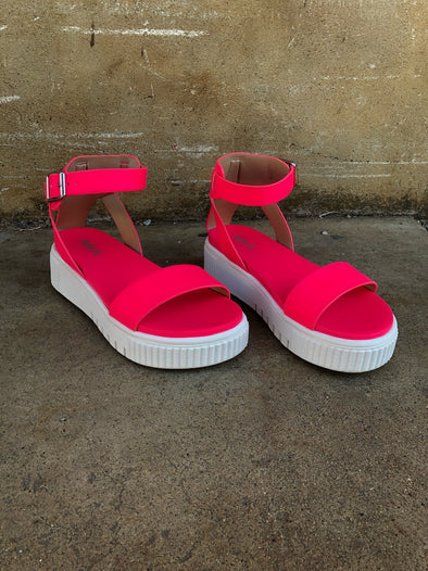 Lunna Sandals- Neon Pink - Texas Bling