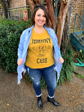 Johnny Cash Boots Boyfriend Tee - Texas Bling
