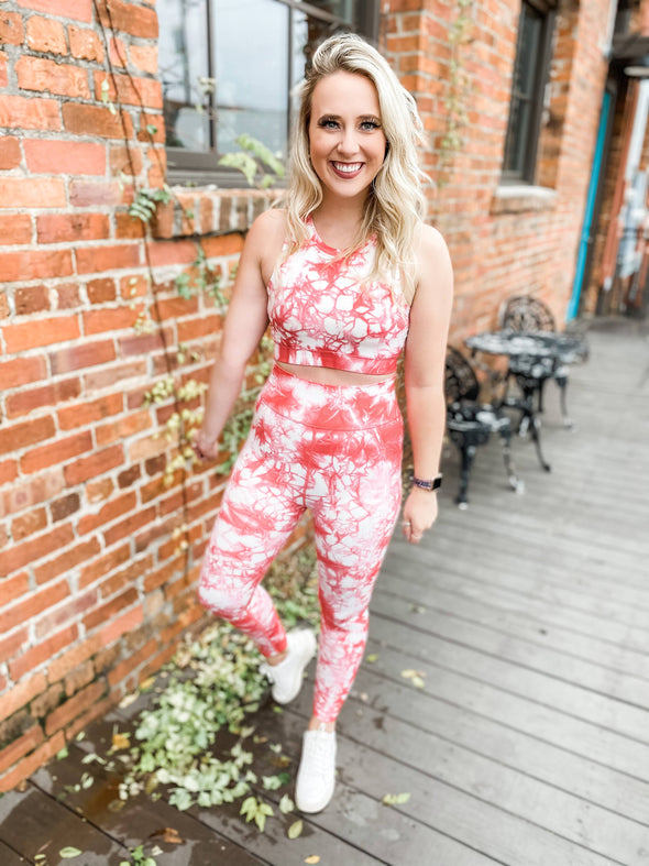 Penny Tie Dyed High Waist Seamless Leggings - Peach