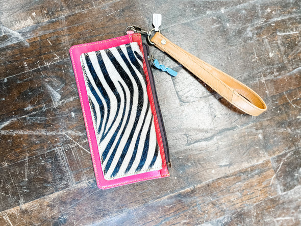 Aria Leather Wallet Wristlet- Pink/Zebra
