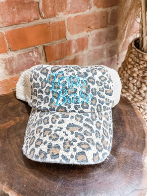 Texas Babe Cap- Cream Leopard- Aqua Thread