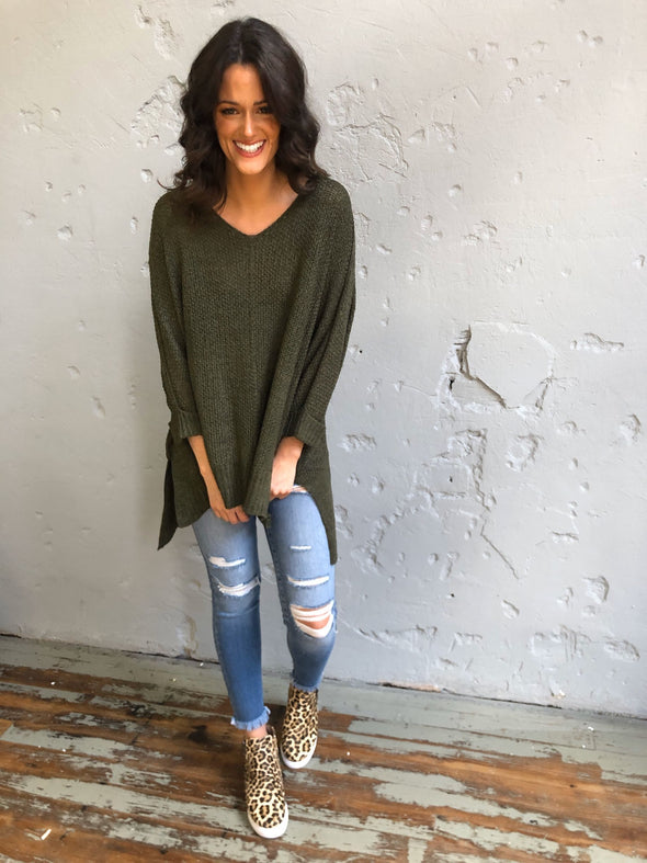 Jessica Sweater- Olive - Texas Bling