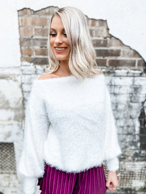 Audray Boat Neck Fuzzy Knit Top- Off White
