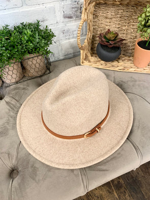 Jessica Simple Leather Belt Hat- Beige