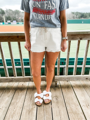 Leila Distressed Denim Shorts- White