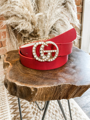 Leather GG Belt- Red