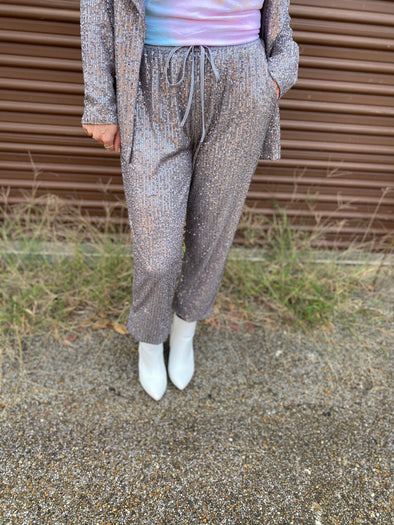 Kate Sequin Jogger Pants- Grey