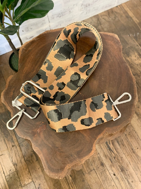 Bag Strap- Grey Ground Leopard Adjustable Strap- Silver Buckle
