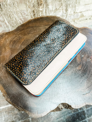 Nova Leather Wallet- Blush/Black & Brown Spotted