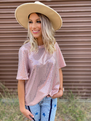 Ryker Sequin Boxy Top- Pink