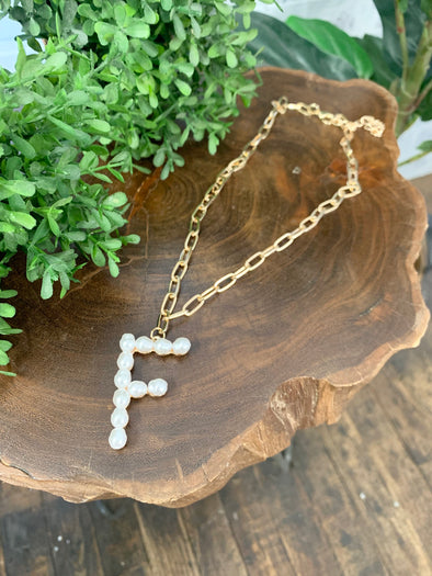 Pearl Initial Letter Necklace- F