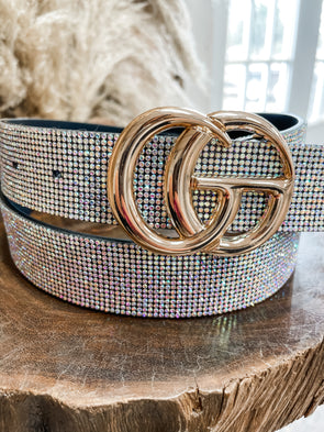 Rhinestone GG Belt- Gold