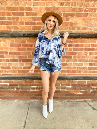 Lillian Tie Dye Button Down Top- Blue