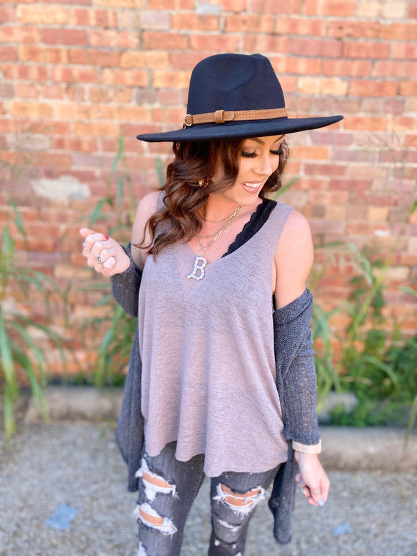 Kimberly V-Neck Tank Top- Latte
