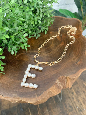 Pearl Initial Letter Necklace- E