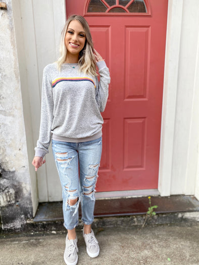 Gracelyn Multi Stripe Brushed Sweatshirt
