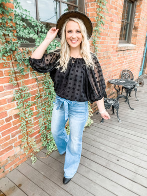 Madison Off the Shoulder Bubble Sleeve Crop Top- Black