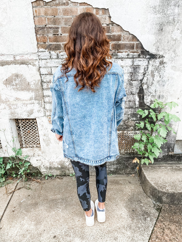 Bethany Oversized Distressed Denim Jacket- Indigo