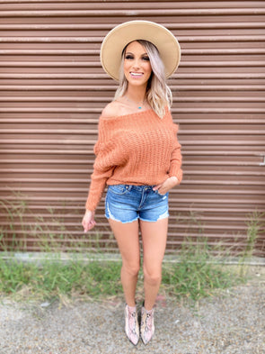 Aylin Off Shoulder Sweater- Clay