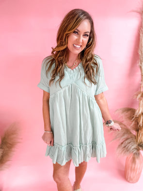 Dede Babydoll Ruffle Tunic Dress- Light Sage