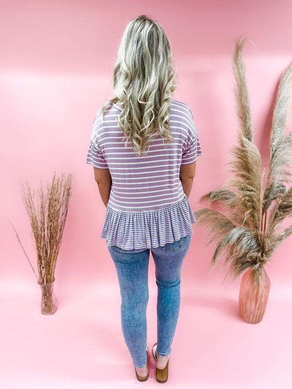 Charlotte Striped Ruffle Trim Pocket Top