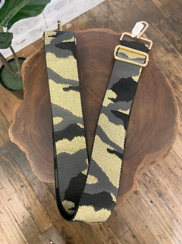 Bag Strap- Black/Grey/Gold Camo Adjustable Strap