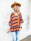Annabelle Multi Striped Peplum Top- Brown